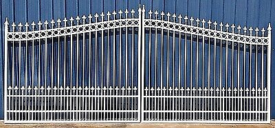 Aluminum Driveway Entry Gate 18 Ft Wide Dual Swing. Commercial - Residential