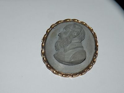 Antique Victorian 18K Gold Lava Cameo Of Bearded Man Pin Brooch