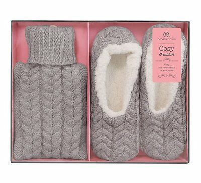 Aroma Home KNITTED SLIPPERS and MINI HOT WATER BOTTLE Gift SET - GREY Moccasins