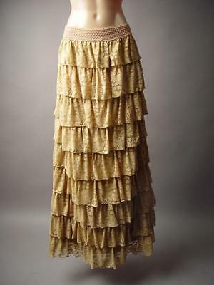 Antique Beige Tiered Lace Ruffle Victorian Style Long Maxi 195 mv Skirt S M L