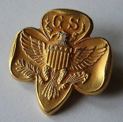 RARE 1/20 10K Gold Traditional GIRL SCOUT MEMBERSHIP PIN Eagle FULL SIZED Gift!