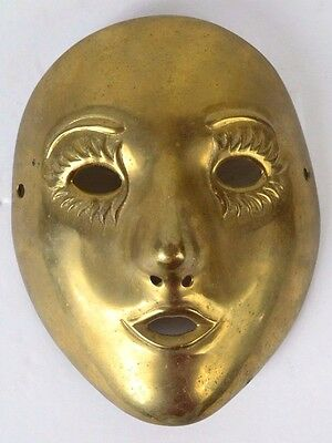 Vintage Mime Brass Mask Heavy Masquerade Made in India