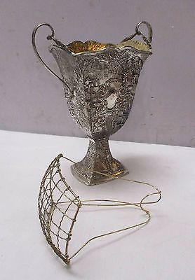 Antique Vintage Silverplate Embossed Vase with Flower Frog - Holland Ware