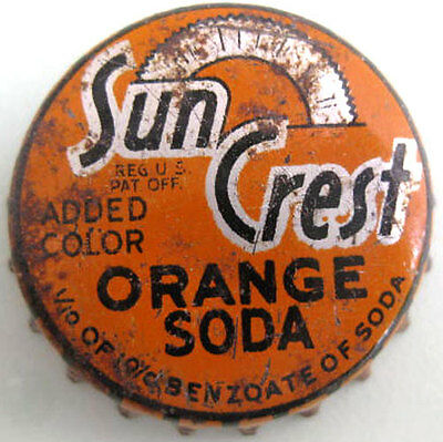 SUN CREST ORANGE SODA used Cork-lined Soda CROWN, Bottle CAP
