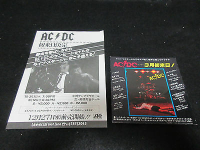 AC/DC Japan Flyer & Promo Sticker for Cancelled 1979 Japan Tour Angus Young Bon