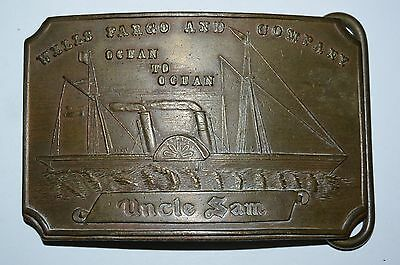Wells Fargo & Co. Vintage Brass Belt Buckle RARE UNCLE SAM PLATE Coast To Coast