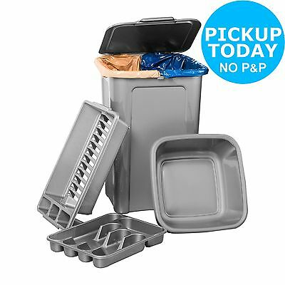 HOME 4 Piece 45L Kitchen Bin Set - Silver. From the Official Argos Shop on ebay