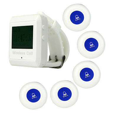 New Wireless Paging System Call Pager Watch Receiver+ 5*Call Transmitter Button
