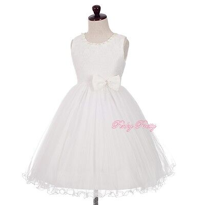 Lace Pearls Tulle Party Wedding Flower Girl Bridesmaid Dresses Up Age 2-8y FG361