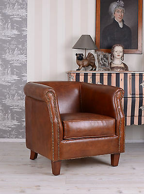 French Art Deco Lounge Armchair Classic Genuine Leather