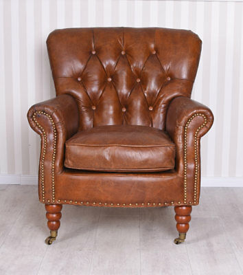 Art Deco Lounge Armchair Genuine Leather Chesterfield Style