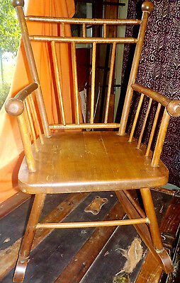 ANTIQUE CHILD'S ROCKING CHAIR  Windsor Bird Cage HARDWOOD  GREAT DOLL DISPLAY!