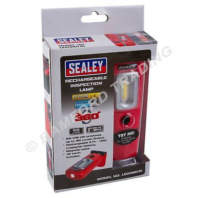 Sealey Rechargeable LED Inspection Lamp 360° COB Work Light Super Bright 2W Red