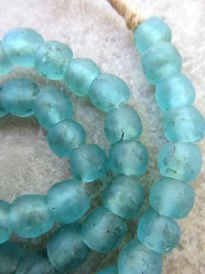 African Turquoise Glass Beads  [65272]