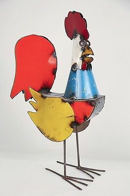 Recycled Metal-Rooster-Mexican Folk Art--Animal-Art-Sculpture-LARGE-9Wx23Hx16L
