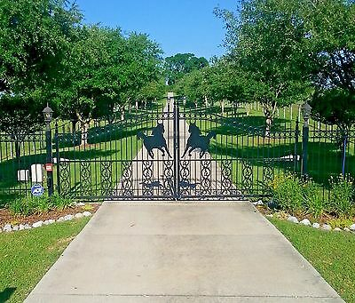 Custom Built Driveway Entry Gate 14 Ft Wide Dual Swing. Fencing, Residential