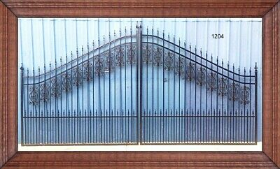 Ornamental Iron - Steel Driveway Entry Gate 16 Ft Wide Dual Swing Residential