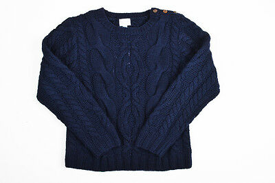 KIDS Papo d'Anjo Navy Blue & Brown Merino Wool LS Cable Knit Sweater SZ 10Y