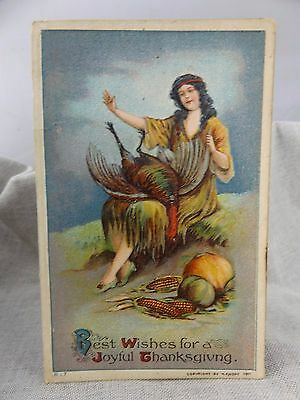 1911 Thanksgiving Color Postcard Indian Maiden with Turkey