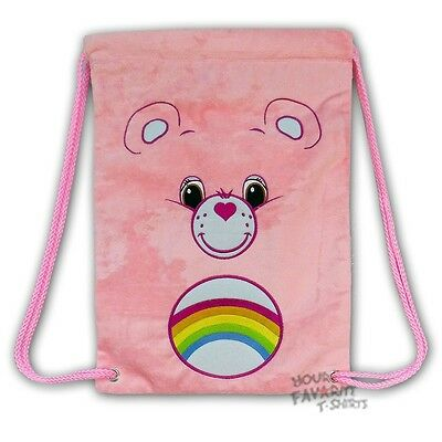 Care Bears Pink Fuzzy Face Licensed Drawstring Bag