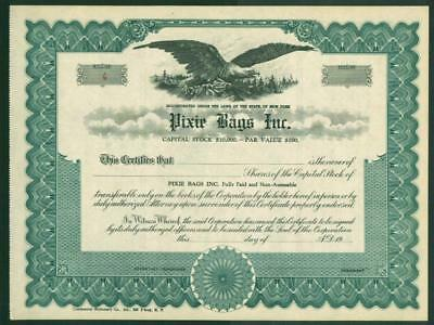 Pixie Bags Inc. Unissued Stock Certificate