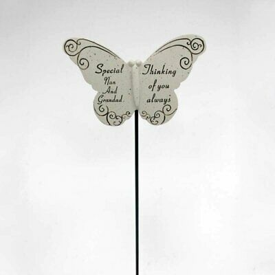 Thinking of Special Nan & Grandad Butterfly Memorial Tribute Stick Graveside Pla