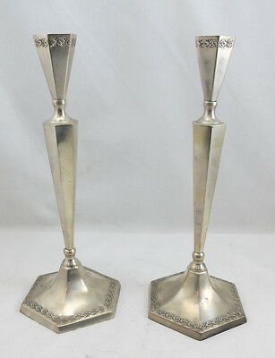 "Silver 800 Candlesticks Set/Pair of 2 11 1/4"" Height 292grams"