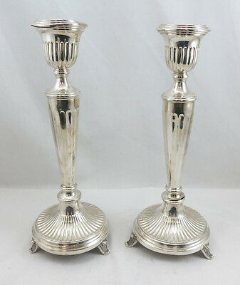 "Sterling Silver 925 Candlesticks Set/Pair  14 3/4"" Height 688 Grams Pre Owned"
