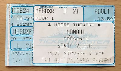 1990 Nirvana Stone Temple Pilots Sonic Youth Seattle Concert Ticket Stub Cobain