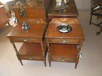 Beautiful Signed Pair  Hitchcock Nightstands With Classic Stenciled Detail