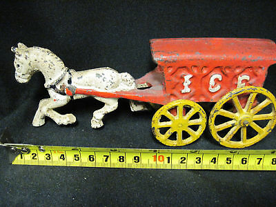 Vintage Cast Iron Horse Drawn Beer Soda ICE Carriage Wagon Rare