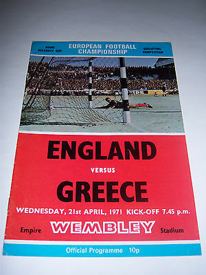ENGLAND v GREECE - APRIL 1971 - EUROS INTERNATIONAL - FOOTBALL PROGRAMME
