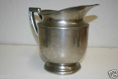Vintage Art Deco Hand Hammered Silver Plate Water Tea Pitcher MM Co EPNS Rare