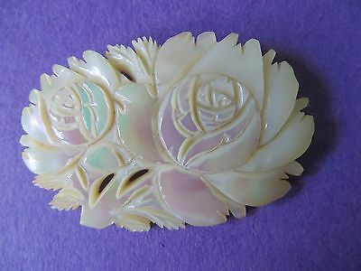Vintage Mother Of Pearl Double Rose Brooch Pin