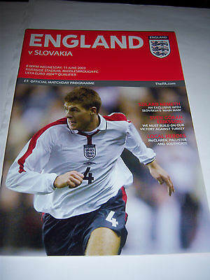 ENGLAND v SLOVAKIA - JUNE 2003 - EUROS INTERNATIONAL - FOOTBALL PROGRAMME