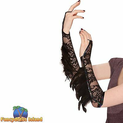 BLACK FEATHER LACE GLOVES RAVEN FANTASY- one size- ladies womens fancy dress