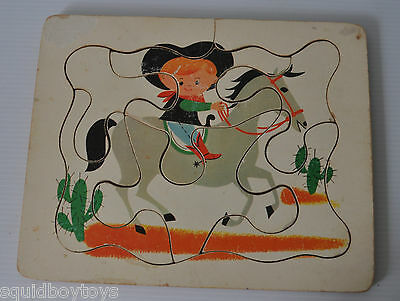 COWBOY on HORSE vintage Wooden TRAY PUZZLE 1960s