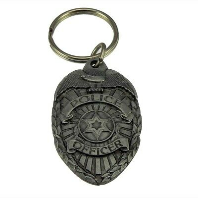 Police Officer Badge Pewter Keychain Law Enforcement Mini Key Ring Blue Line