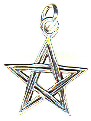 """925 Sterling Silver Small Pentagram Pendant 17mm Diameter  without the bail 5/8"""""""