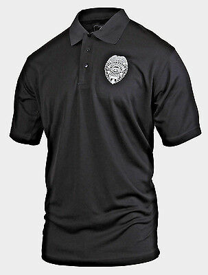 Security Guard Polo Shirt Black 2 Sided Short Sleeve Moisture Wicking Golf Shirt
