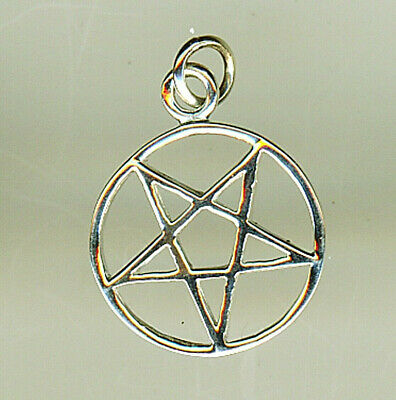 "l925 Sterling Silver Plain Pentagram in Circle Pendant just over 1/2"" w/o bail"