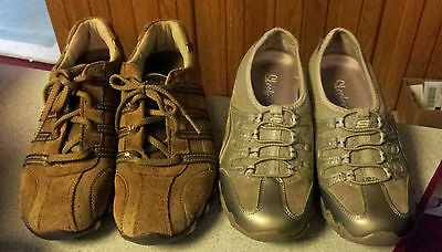 Lot of 2 Pr Women's SKECHERS Shoes Size 6 / 6.5 Slips Ons & Lace-Ups Preowned
