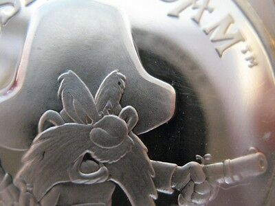1- Oz. Pure Silver Yosemite Sam  Looney Toons 1987 1St Limited Edition + Gold .