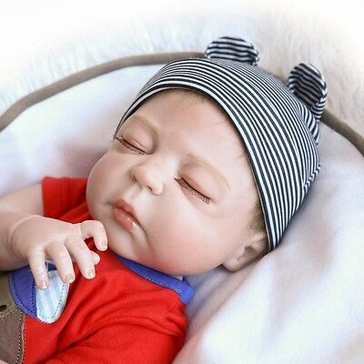 "22"" Full Body Silicone Reborn Sleeping Boy Doll Soft Vinyl Lifelike Newborn Baby"