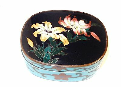 Bronze Japanese Cloisonne Royal Blue Enamel Floral Jar Box