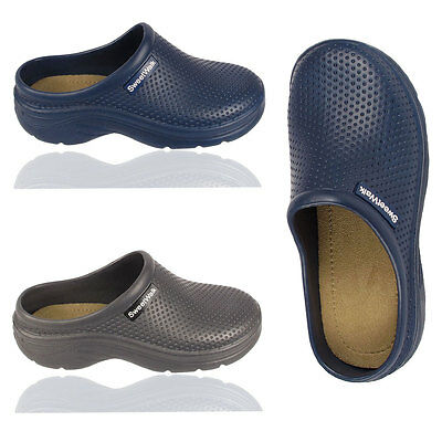 New Mens Ladies Mules Boys Girls Clogs Hospital Garden Work Soft Inner Sole Shoe