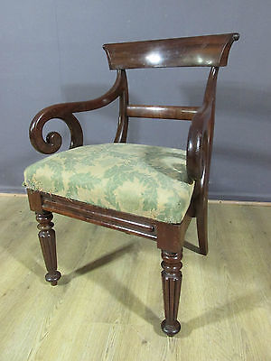 Original Antique Victorian Mahogany Library Desk Chair Circa 1860