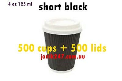 1000 pieces 4 oz ripple double wall paper cups / shortblack Coffee cups in BLACK