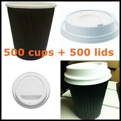 1000 PC 500 disposable paper coffee cups and 500lids, take away cups 8 oz 250ml