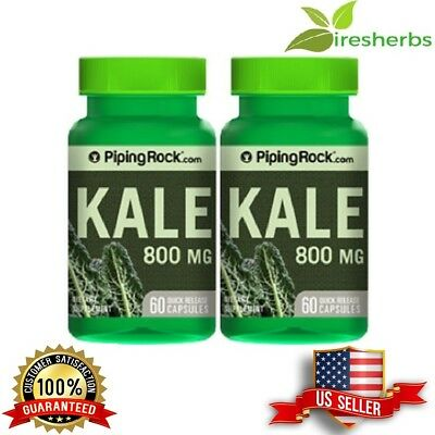 2-Pack Kale 4:1 Extract 800 Mg Vegetable Dietary Supplement Pills 120 Capsules
